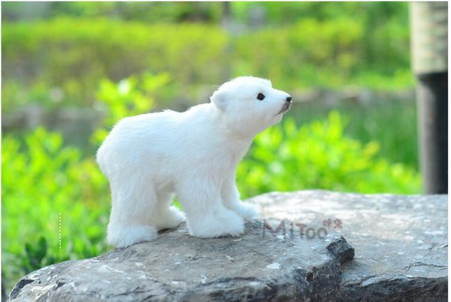 Cute Simulation Polar Bear Toy Handicraft Lovely White Doll Gift About 20x8x14cm