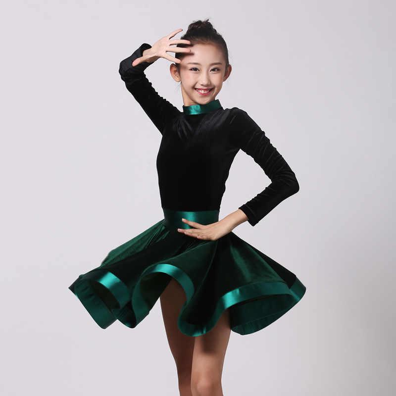 8ed89596f Green Latin Dance Dress For Girls Samba Rumba Tango Dance Wear Cha Cha  Outfits Kids Ballroom