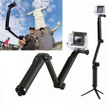 ZJM For Gopro Accessories 3-way Grip Arm Tripod Monopod For Gopro Hero 4 Hero3 3+ sj4000/5000/6000 Telescopic stick camera stand