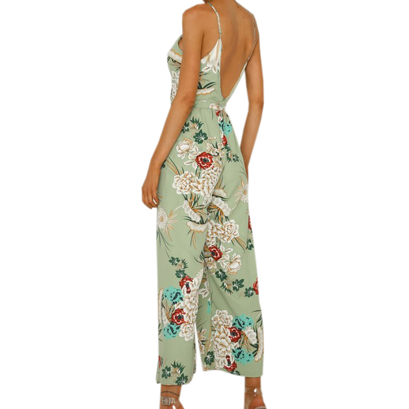 Summer Women Beach Boho Spaghetti Strap Overalls Femme Floral Printed Jumpsuits Wide Leg Pants Rompers Plus Size Jumpsuit GV383 1