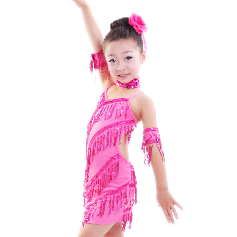 115-145cm height Children Party Clothing Girl Kids Sequined Tassels Rose Leotard Latin Dance Dress Sexy Samba Dresses Costumes