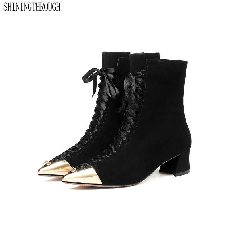 UK Women Chunky Block High Heel Riding Motor Ankle Boots Punk Lace up Shoes Club