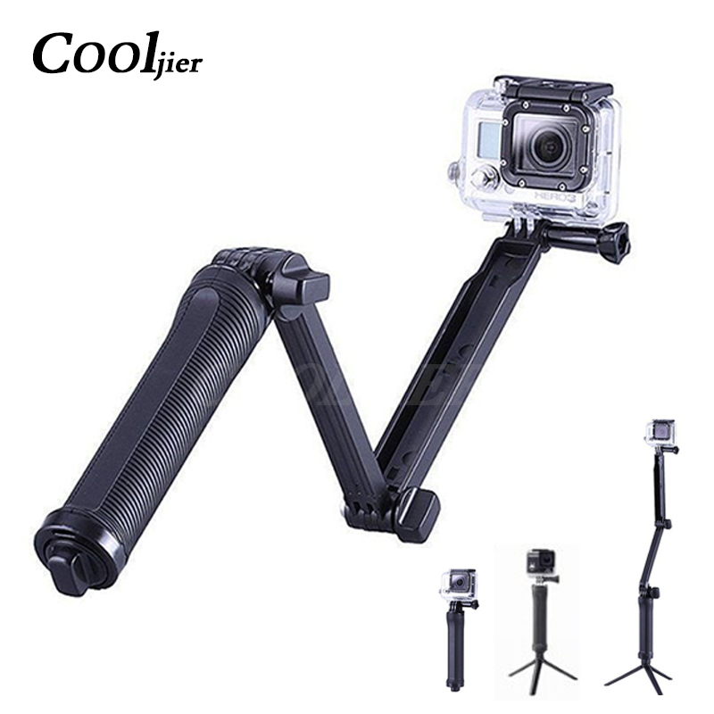 COOLJIER Waterproof 3 Way Selfie Stick For Gopro Hero 5 6 4 Session SJ4000 Xiaomi Yi 4K Camera Go Pro Tripod Extendable Monopod