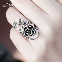 High quality exaggerated vintage 2*3cm Rose Flower Leaves big Rings for Women Ladies Finger Ring fine Jewelry party Gifts