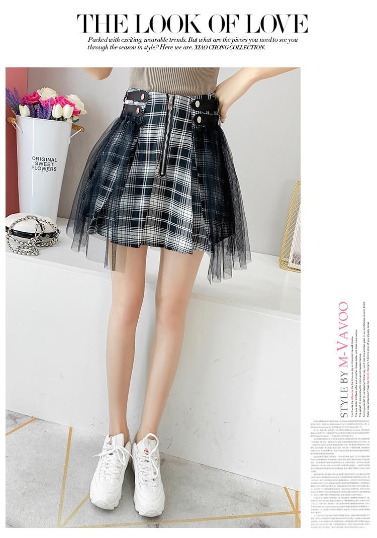 Japanese Harajuku Women s Skirt Gothic Black Red Plaid Mesh Patchwork High  Waist Mini Skirt Punk Lolita Preppy Tulle Skirts Saia