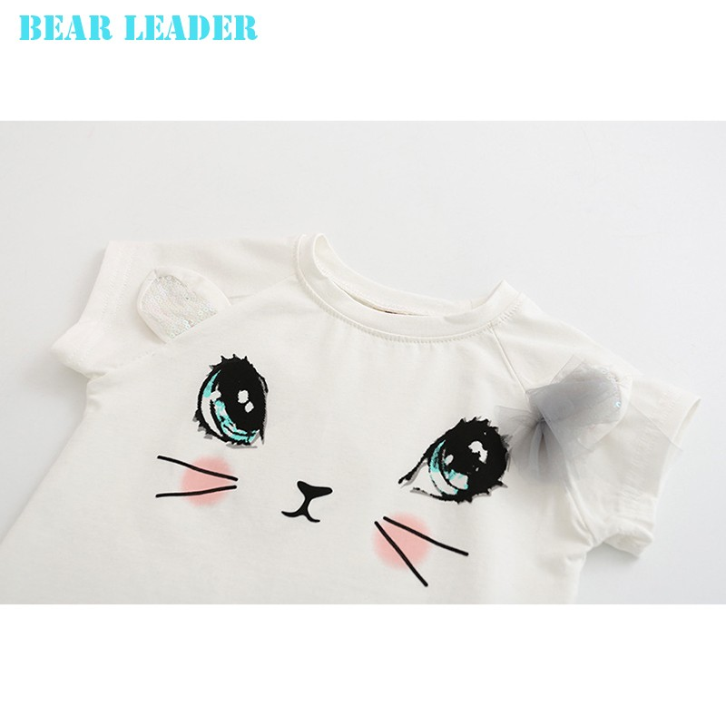 Bear Leader Girls Clothing Sets New Summer Fashion Style Cartoon Kitten Printed T-Shirts+Net Veil Dress 2Pcs Girls Clothes Sets 31