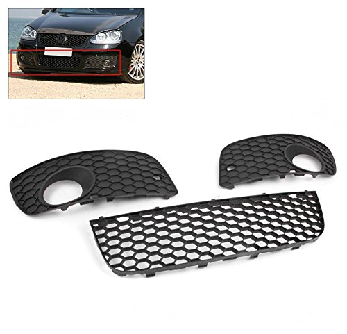 Lower Bumper Center Mesh Grille Grill+Fog Light Cover for VW GTI Gli Jetta MK5 runmade for 2010 vw transporter t6 t5 before facelift lower bumper grill fog cover fog light lamp set left