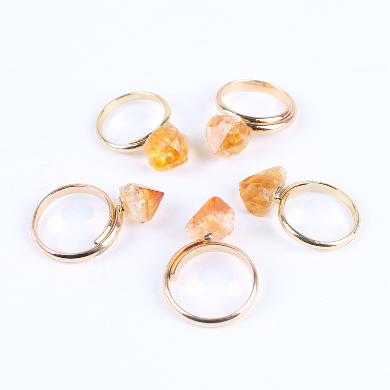 Finger Joint Citrines Rings crystal Natural Stone Beads Crystal Quartz Gold Color Ring Jewelry