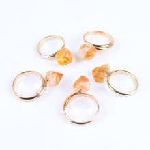 Finger Joint Citrines Rings crystal Natural Stone Beads Crystal Quartz Gold Color Ring Jewelry(China)