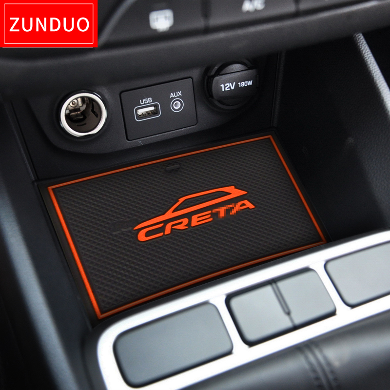 ZUNDUO For Hyundai Creta ix25 2015   2019 Gate slot pad Interior Door Pad Cup Non-slip mats red blue white orange 17pcs