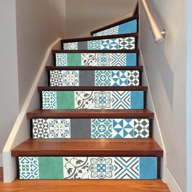Modern Simple Europe Stair Stickers 6 Piece Stairs Steps Decals