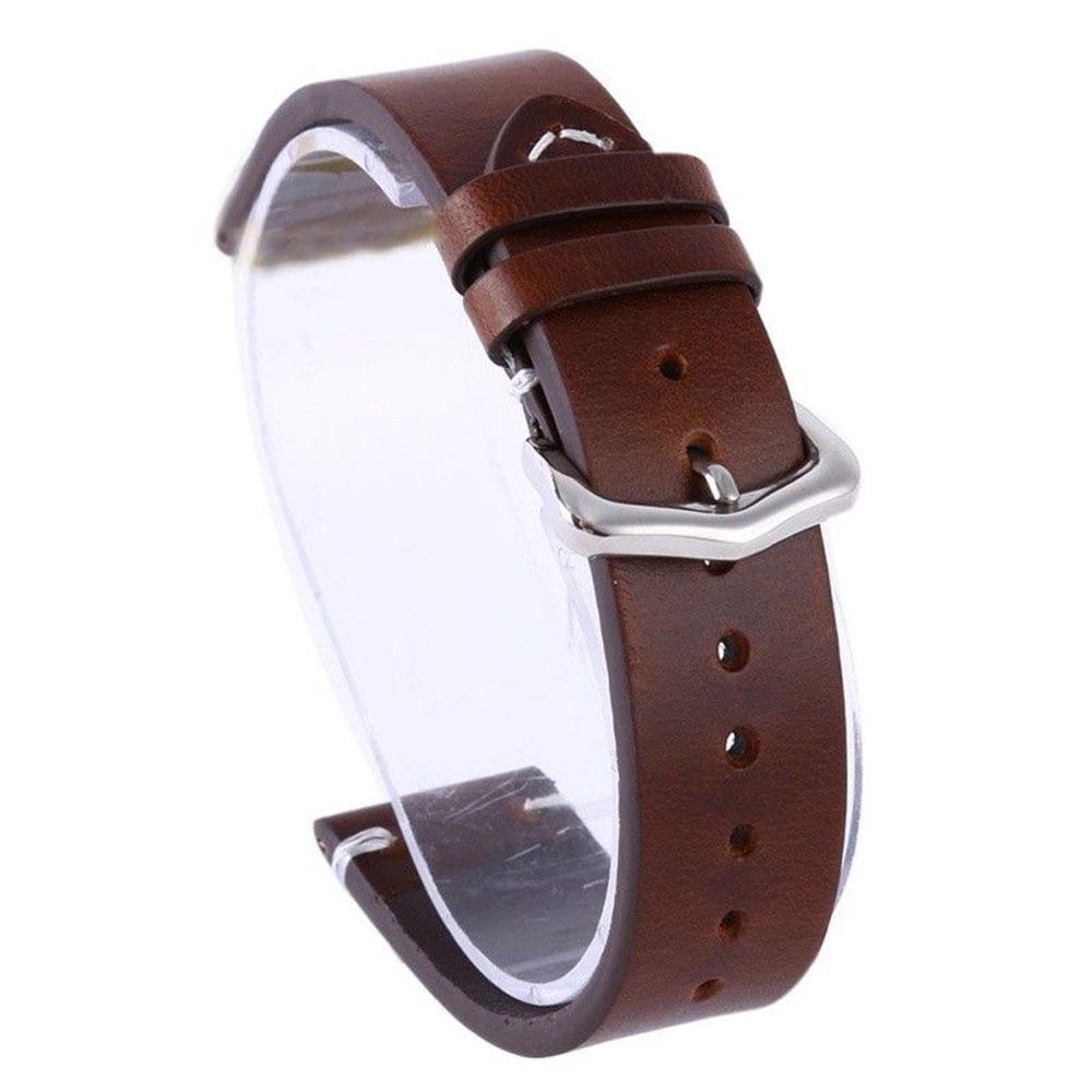 Wax Oil Skin Watch Straps Vintage Genuine Leather Watchband Calfskin Watch Straps 18mm 20mm 22mm Black Brown Stainless Bracelet