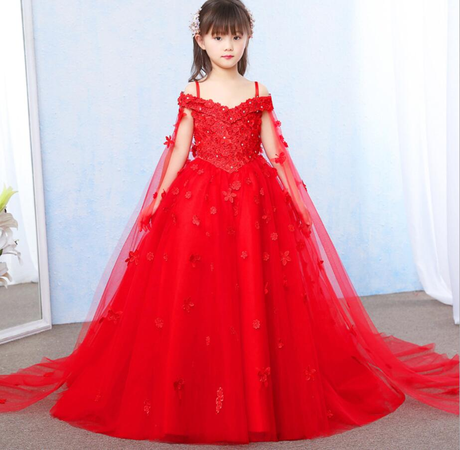 Elegant Red Tulle Flower Girl Dress Party Kids Pageant Gown Princess Wedding Dress Sleeveless First Communion Dresses  HW2336Elegant Red Tulle Flower Girl Dress Party Kids Pageant Gown Princess Wedding Dress Sleeveless First Communion Dresses  HW2336