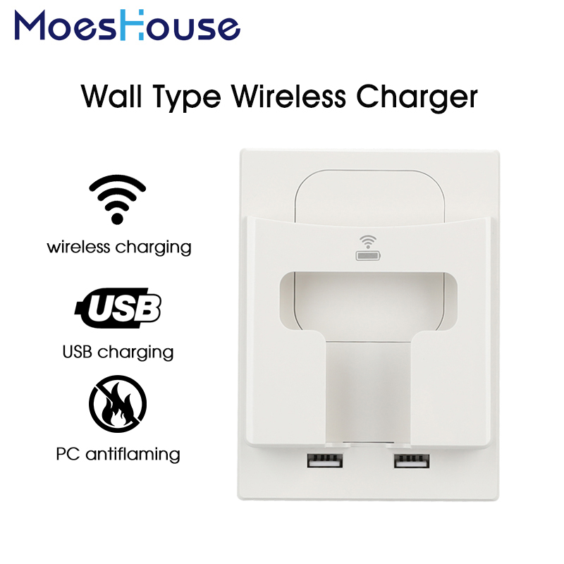 Wall Socket Electric Qi Wireless Charger 5W Dual USB Port Mobile Phone Holder EU/UK Style