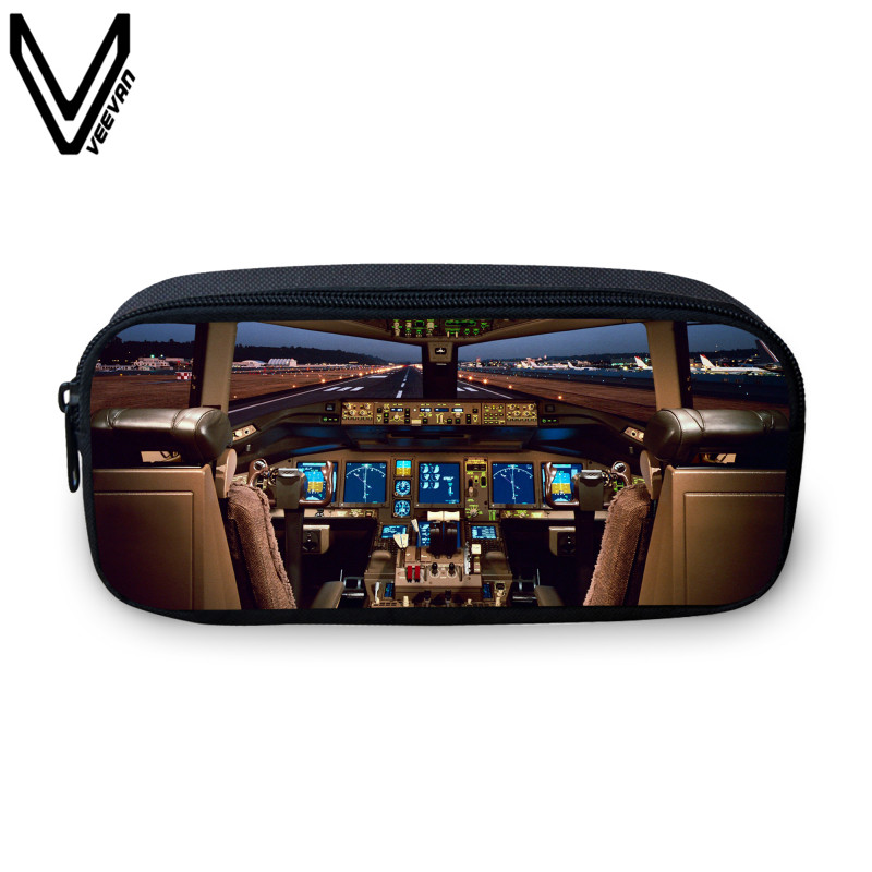 VEEVANV 2017Casual Aircraft Cabin Printing Case For Girls School Study Box Cockpit Pattern Make Up Bags Kids School Gifts