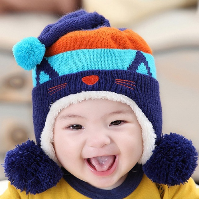d546233bf57d Lovely Kitty Warm Baby Beanie Hat Boys   Girls Winter Knitted ...
