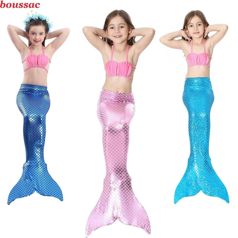 Little Girls Bathing Suit Swimming Mermaid Tail Swim With Monofin Costume Children Mermaid Tails Cosplay Kids Swimwear Swimsuit