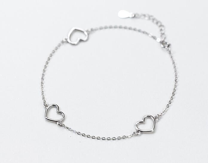 100% Real. 925 Sterling Silver Fine Jewelry Open Heart Love Anklet Bracelet Chain Adjustable good quality GTLS445
