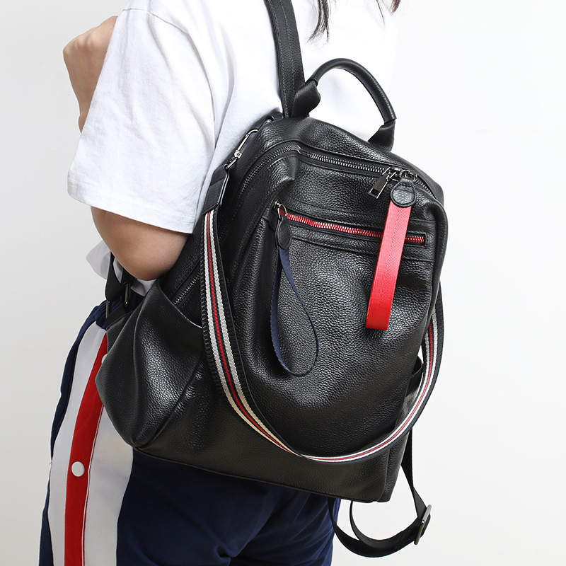 Korean Leisure Soft Leather Backpack Women Chic Popular Panelled Girl SchoolBag Cowhide Back Pack Daily Travel
