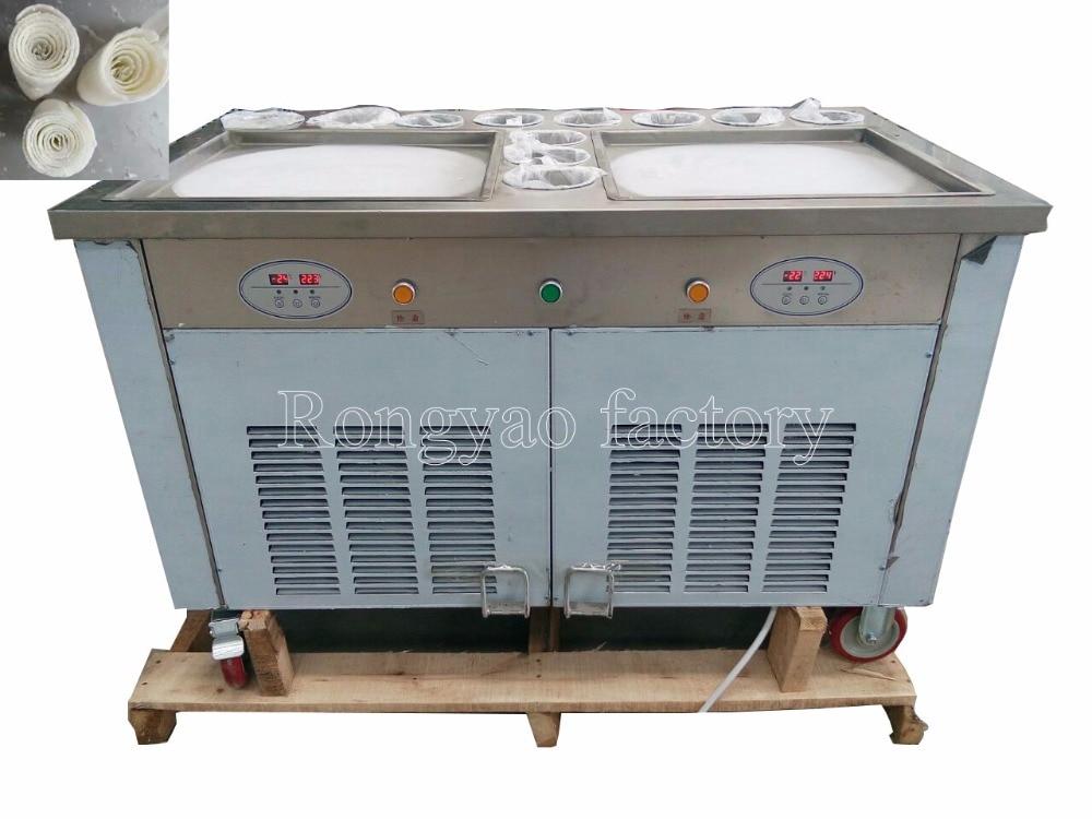 45CM * 2 pan 11 tank Ice cream fryer machine computer control Roller Flat fried ice cream machine light box rolling Roll