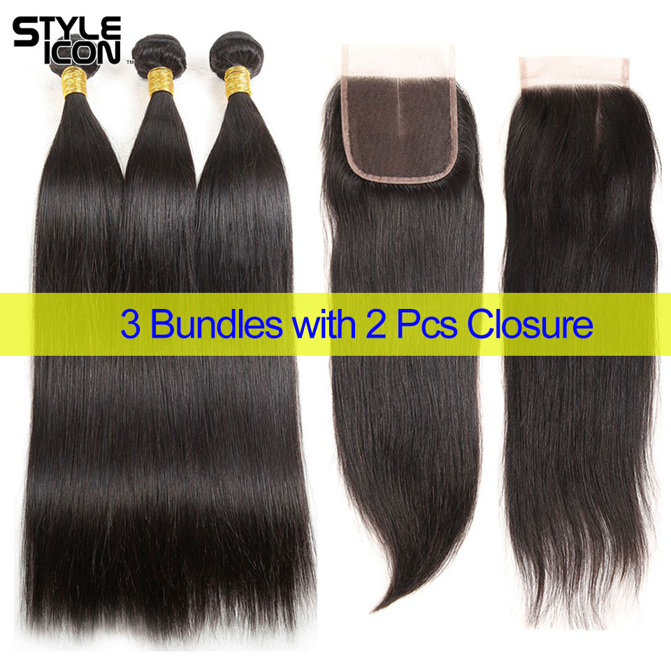 Styleicon Peruvian Straight Hair Bundles With Closure 5 Pcs A Lot 100% Human Hair 3 Bundles With 2 Pcs Closure Free Middle Part