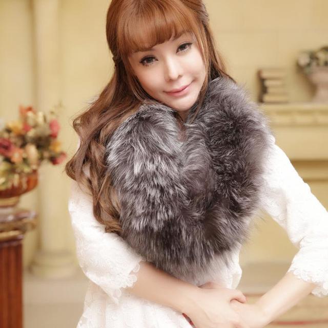 F706-Natural фокс меховой шарф, Осень зима ручной вязки теплый серый женская воротник мех лисы шарф