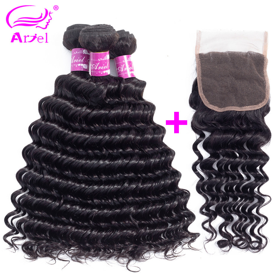 ARIEl Indian Hair Weave Deep Wave 4 or 2 or 3 Bundles With Closure 100 Human