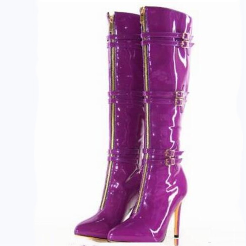 SHOFOO shoes. Fashion novelty free shipping, purple leather, 11 cm high heel boots, knee-high boots.SIZE:34-45
