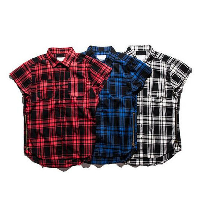 Red Plaid Shirts Men 2016SS New Fashion Justin Bieber Swag Hip hop Streetwear Side Zippers Design Casual Loose Cotton Shirts XXL