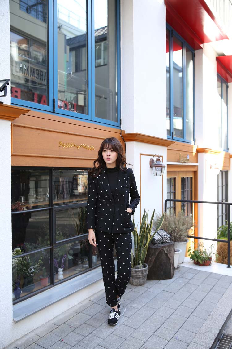 South-Korea-Official-2015-Wool-Suit-Female-Lovely-Polka-Dot-Western-Style-pants-suit (1)