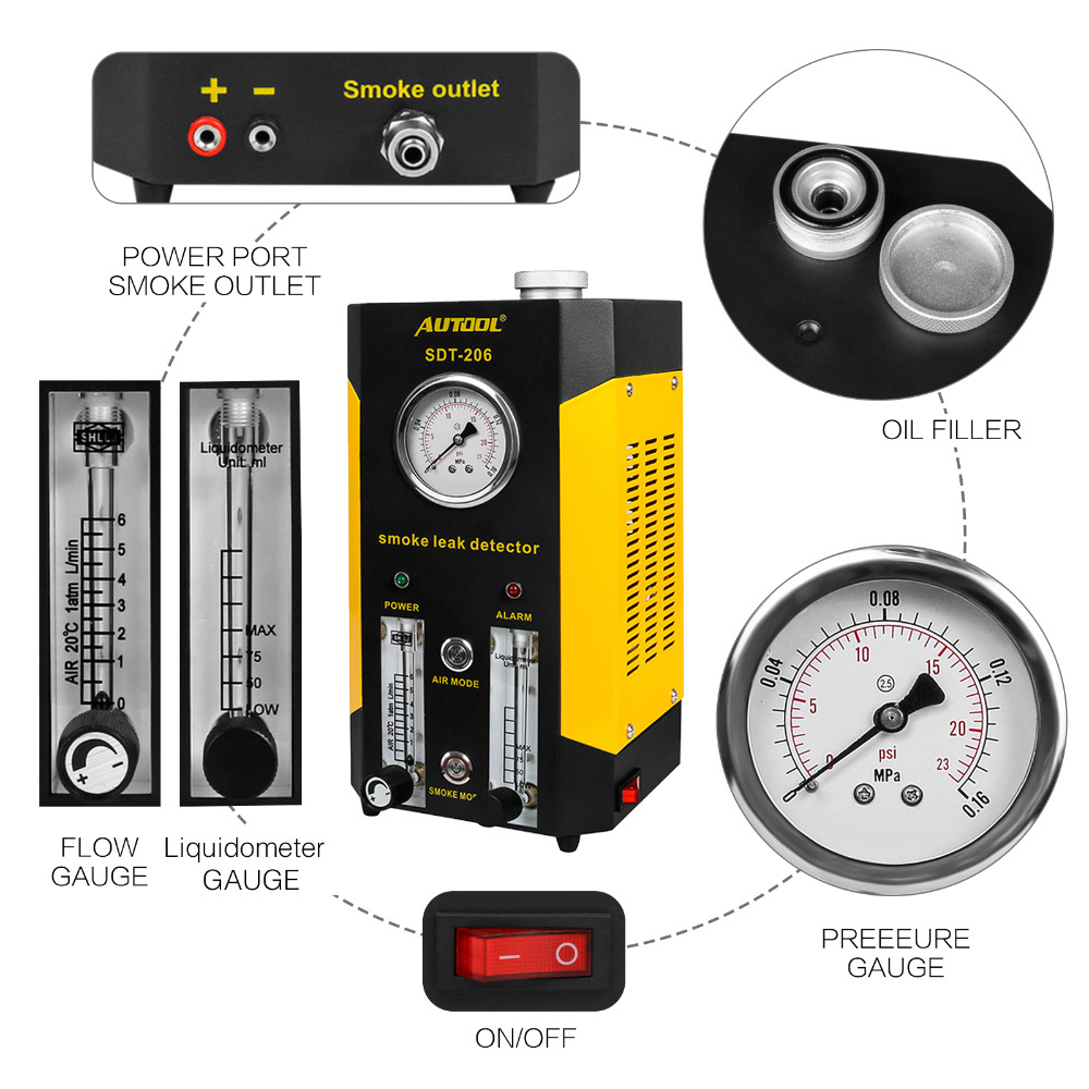 2019 New Generation Autool SDT206 Car Truck Smoke Leak Detector Smoke Machines EVAP System Updated version of SDT 206-in Emissions Analyzers from Automobiles & Motorcycles