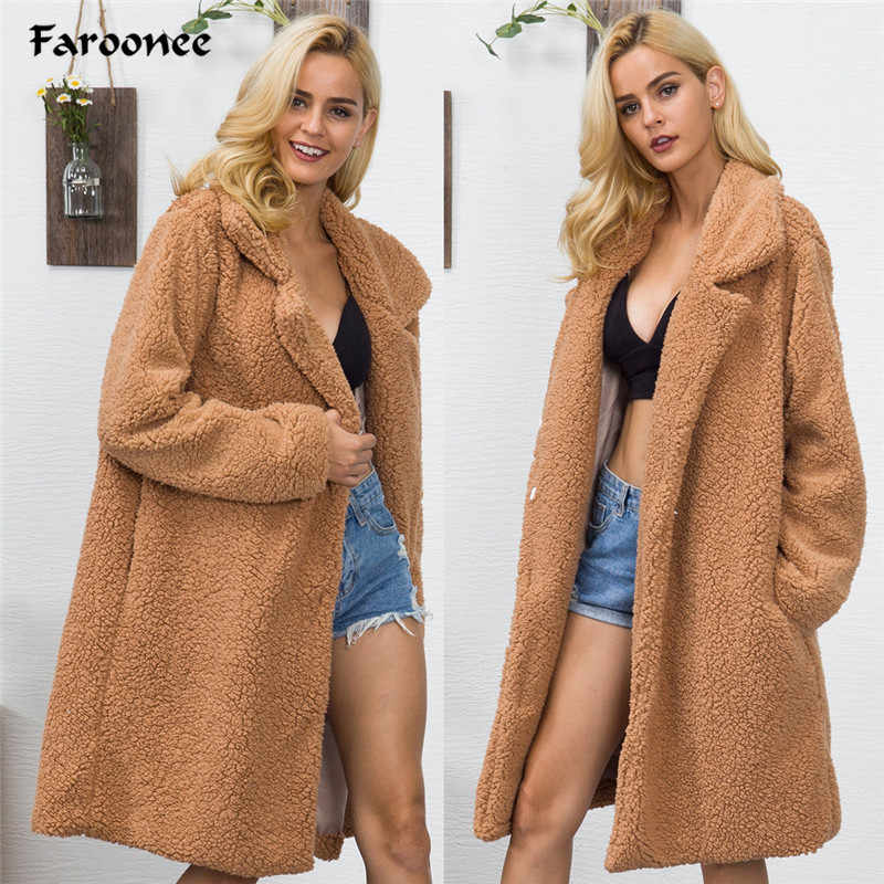 Women's Plush Coat Winter Lambwool Trench Coats Long Sleeve Thicken Warm Elegant Camel Outerwear Long Faux Fur Jacket