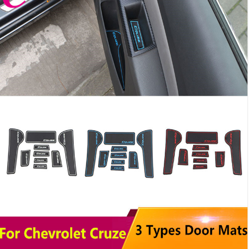 Car Anti-slip Non-slip Rubber Water Cup Sticker Gate Slot Pad Door Groove Mat For Chevrolet Cruze 2009 - 2015 Accessories
