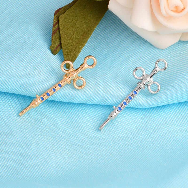 Or argent couleurs seringue Pin médical avec cristaux bijoux cadeau pour médecin/infirmière/MD/étudiant chimie créative