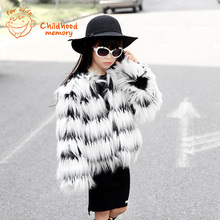 Fringed Faux Fox Fur Children Jacket For Girls Europe America Style Girls Winter Coat 2016 New Autumn Kids Fur Jacket Brand Hot