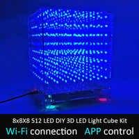 LEORY 8x8X8 512 светодиодный DIY 3D светодиодный светильник Cube Kit Wi-Fi подключенное приложение управление музыкальным спектром светодиодный дисплей ...