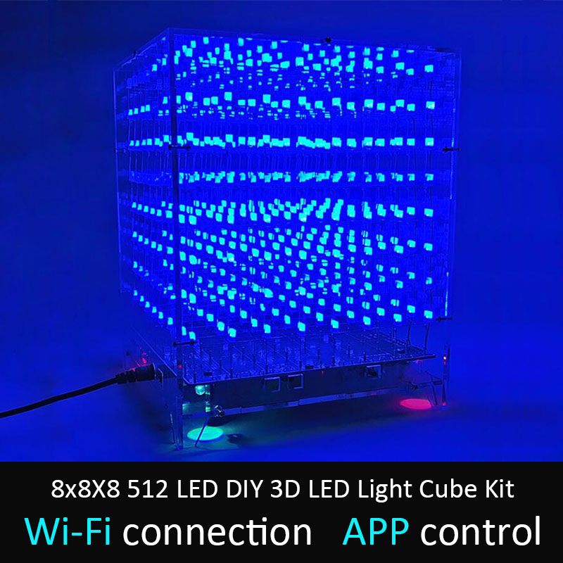 LEORY 8x8X8 512 LED DIY 3D LED Light Cube Kit Wi-Fi Connected APP Control Music Spectrum LED Display Equipment MP3 DAC Circuit