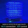 LEORY 8x8X8 512 LED DIY Kit de cubo de luz LED 3D Wi-Fi conectado aplicación de Control de espectro de música equipo de pantalla LED circuito MP3 DAC
