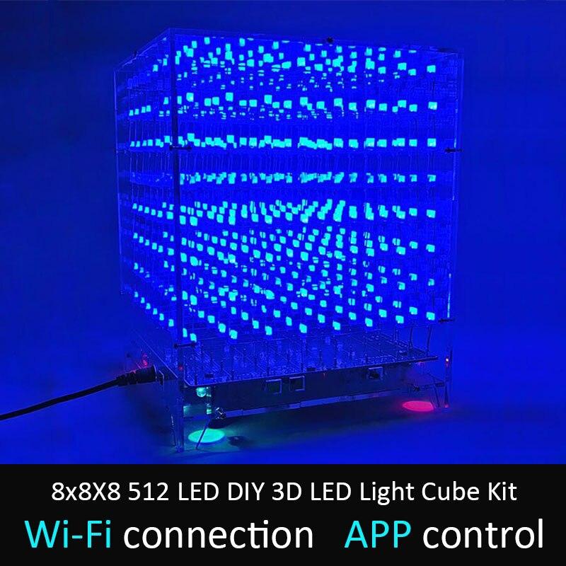 LEORY 8x8X8 512 LEVOU DIY Kit Wi-Fi APLICATIVO Conectado 3D LEVOU Cubo de Luz Música Controle de Espectro display LED Equipamentos MP3 Circuito DAC