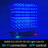 LEORY 8x8X8 512 LED DIY 3D LED Light Cube Kit Wi Fi Connected APP Control Music Spectrum LED Display Equipment MP3 DAC Circuit
