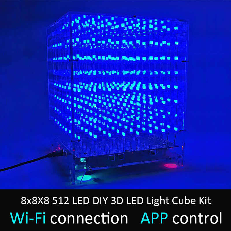 Leory 8X8X8 512 LED DIY 3D Lampu LED Cube Kit Wi-fi Terkoneksi APP Kontrol Musik Spektrum LED Display Peralatan MP3 DAC Circuit