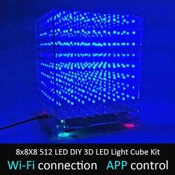 Leory 8x8x8 512 led diy 3d led cubo de luz kit wi-fi conectado app controle música espectro led display equipamentos mp3 circuito dac