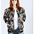 CT669 Новая Мода Женская Урожай цветочные печати куртка пиджаки молнии карманы с длинным рукавом пальто вскользь уменьшают топы бренд дизайнер
