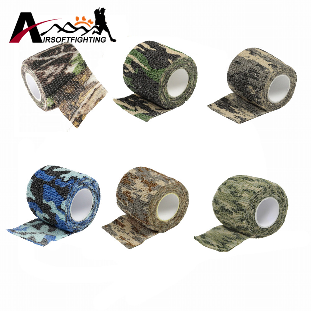 Self adhesive Camo Stretch Bandage 5CM * 4.5M Tactical Non woven Protective Camouflage Tape for Rifle Gun Flashlight Camo Tape