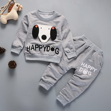 Spring Autumn Baby Boy Cotton Clothes Set Cartoon Dog Print Sweatshirt Tops Pants Trousers Set picturesque childhood printed car cartoon baby boy clothing double set suspenders trousers pants style strap baby s set
