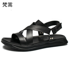 купить Roman Sandals Men Fashion Genuine Leather Outdoor Beach Shoes mens gladiator sandals summer Flip Flops casual Shoes anti-skid дешево