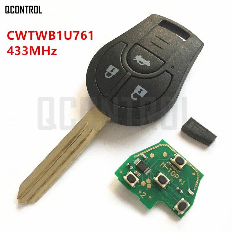 QCONTROL Car Remote Key Suit for NISSAN FCC ID CWTWB1U761 March Qashqai Sunny Sylphy Tiida X-Trail 433MHz ID46 Chip