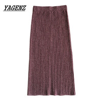 2018 New Autumn Winter Women S Medium Long Wool Skirt Fashion Slim High Waist Elastic Knit