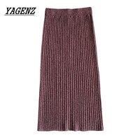 2018 New Autumn Winter Women S Medium Long Wool Skirt Fashion Slim High Waist Elastic Knit