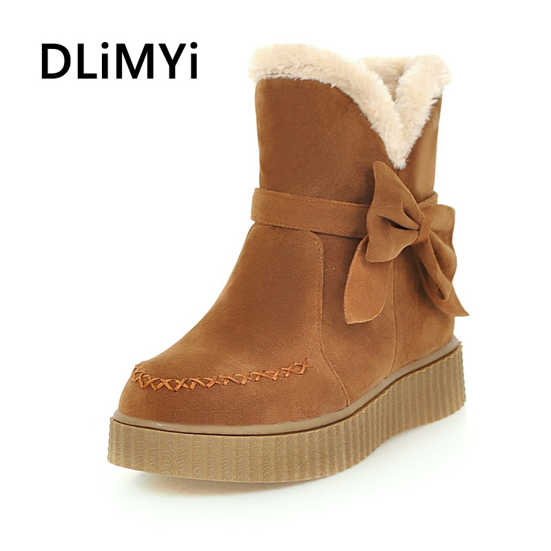 Beige Brown Black Large Size Solid Color Warm Fur Lining Winter Ankle Boots Non-slip Wear Flat Shoes